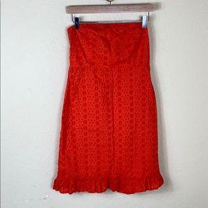 Old Mavy orange eyelet strapless ruffle dress 8